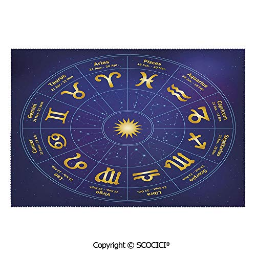 SCOCICI Washable,Non-Fading,Non-Stain,Wipe Clean,Dries Quickly Place mat Horoscope Zodiac Signs with Birth Dates in Circle with Star Dots Print Decorative Prefect for Use in Holiday, Home Parties, FA (Horoscope By Date Of Birth Time And Place)