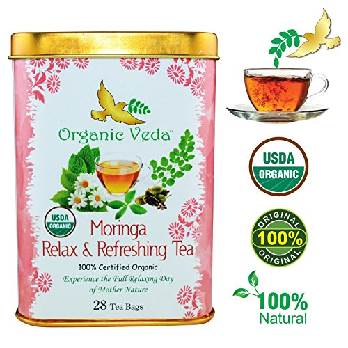 Organic Moringa Relax and Refreshing Tea (28 Potent Tea Bags). USDA Certified Organic. Rich in Antioxidants and Daily Needed Essential Nutrients. No Artificial Flavors or Preservatives. All Natural!