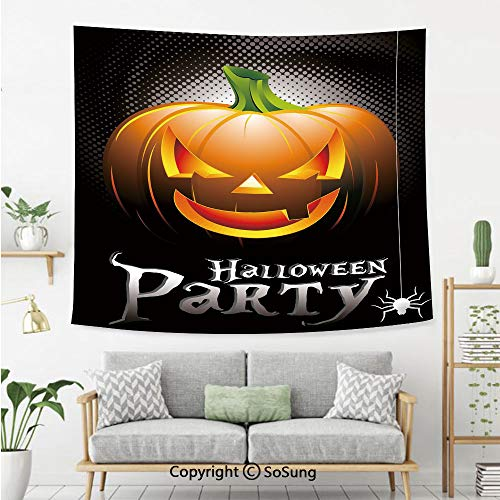 Halloween Wall Tapestry,Halloween Party Theme Scary Pumpkin on Abstract Modern Backdrop Spider Decorative,Bedroom Living Room Dorm Wall Hanging,92X70 Inches,Silver Black Orange -