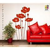 """00658 Adesivo murale Wall Art """"Papaveri selvatici"""" - Misure 62x100 cm - Decorazione parete, adesivi per muro, carta da parati"""