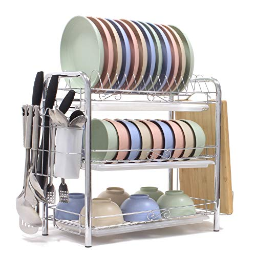 Dish Drying Rack 3-Tier Chrome Plating Dish Rack Stainless Steel Kitchen Dish Drainer Rack Organizer Tool-Free Installation With Utensil Holder/Drain Board/Bracket 3 Layers