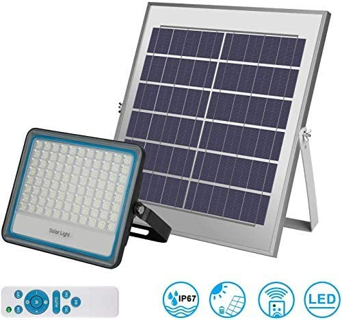 Focos LED Solar Exterior 100W IP67 Impermeable Luz Blanca 6000K ...