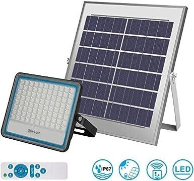 Focos LED Solar Exterior 100W IP67 Impermeable Luz Blanca 6000K Ángulo 120º Con Placa Solar y Mando Remote Jardín Patio Terraza Camping