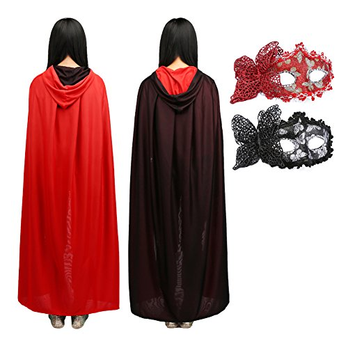 Ideas For School Girl Halloween Costume (Halloween Length Hooded Cape Boys & Girls Superhero Cape+2 Masks Lacing Party Costumes for Audlt Cloak SET Double-sided Cosplay Costume, Black+Red 2 Masks)