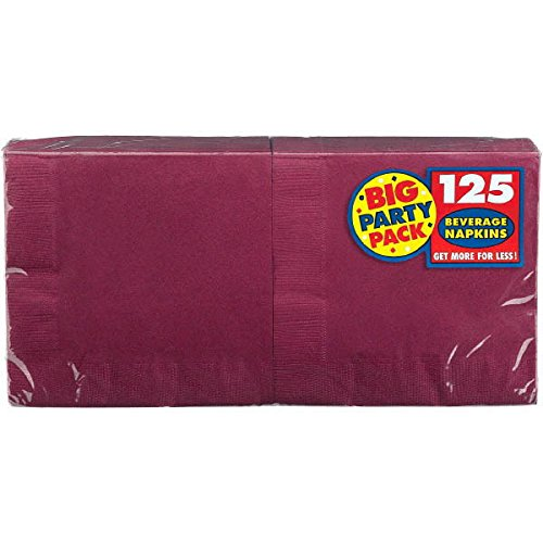 Big Party Pack Berry Red Beverage Napkins | Pack of 125 | Party Supply by amscan (Image #1)