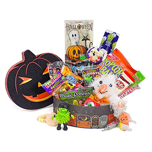 'Ghostly Greetings, Have a Bootiful Halloween' Candy Gift Basket with Plush Ghost Toy