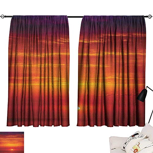 Michaeal Ocean Blackout/Room Darkening Curtains Sunrise Over The Sea in Morning Shoreline Natural Waterscape View Scene Print Two Panels Orange Red Purple W63 x L72