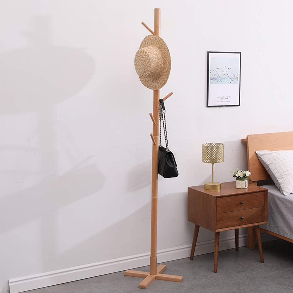 Beech Free Standing Coat Rack Stand, Adjustable Coat Tree with 4 Sections & 8 Hooks, Easy to Assemble Coat Hanger Stand for Bedroom, Office, Hallway, Entryway(Wood color)