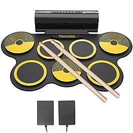 Digital Drum Set ,PAXCESS Tabletop Drum Set  7 Pad Digital Drum Kit, Touch Sensitivity, Wireless Electric Drums, Drum…