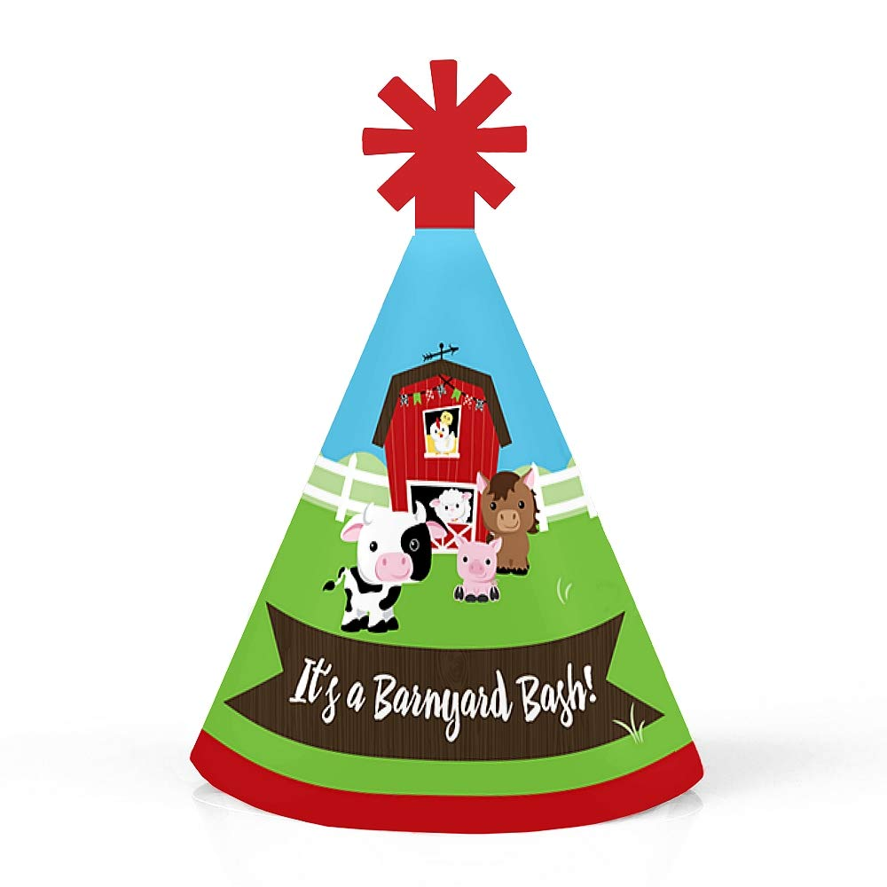 Small Little Party Hats Farm Animals Set of 10 Mini Cone Baby Shower or Birthday Party Hats