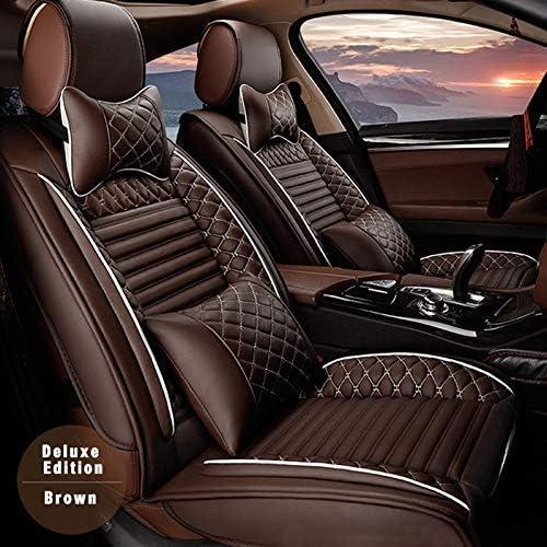全天候用カスタムフィットシートカバー スバル Subaru レガシィツーリングワゴン 完全保護防水カーシートカバーヘッドレストと腰部クッション付きの超快適性ラグジュアリーパッケージ コーヒー フルセット