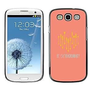 Arrow texto Melocotón Amarillo ser extraordinario- Metal de aluminio y de plástico duro Caja del teléfono - Negro - Samsung Galaxy S3