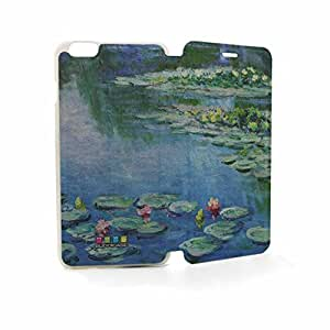 JMM - Claude Monet Water Lilies,1906 Oil Painting Design PU Leather Flip Cell Phone Case Skin Cover/Accessories for Apple iPhone 6 6th 6Generation 4.7