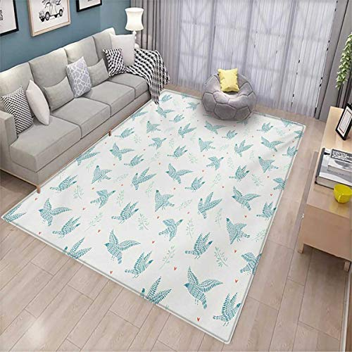 - Birds Bath Mats for Floors Pigeon Silhouette Hearts on Off-White Background Flora and Fauna Door Mat Indoors Bathroom Mats Non Slip 4'x6' Orange Pale Blue and Off White