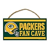 WinCraft NFL Green Bay Packers Wood Sign with Rope, Green, 5 x 5 x 10