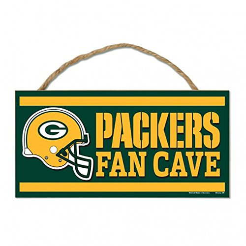 NFL Green Bay Packers Wood Sign with Rope, Green, 5 x 5 x 10
