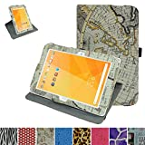 "Acer Iconia One 10 B3-A20 Rotating Case,Mama Mouth 360 Degree Rotary Stand With Cute Lovely Pattern Cover For 10.1"" Acer Iconia One 10 B3-A20 Android Tablet,Map White"