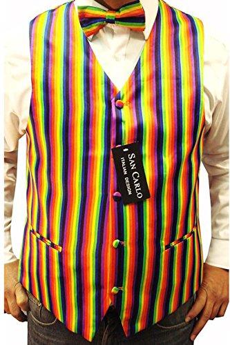 Herren Qualität Regenbogen Farbe Weste und Fliege-Set (ref:Rainbow waistcoat)