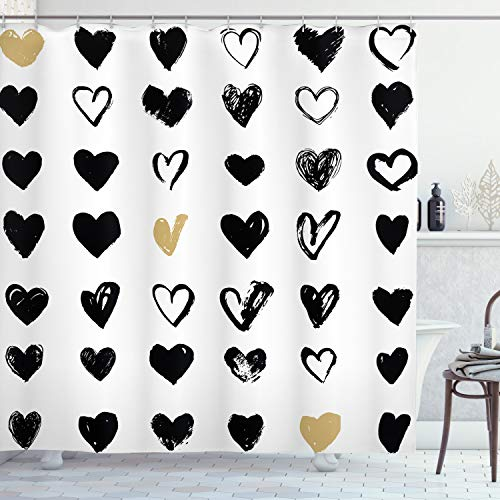 Heart Shower Curtain (Ambesonne Love Shower Curtain, Small Heart Let Me Love You Hipster Liking Spouse Couples Design, Cloth Fabric Bathroom Decor Set with Hooks, 70