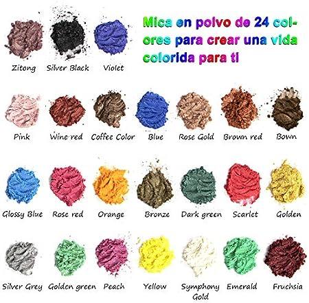 Pigmentos para Resina Epoxi 24 Colores - Mica en Polvo, Tinte para Suministros de Fabricación de Jabón, Aplicación en la Velas, Limos, Sombra de Ojos, Rubor, Arte de Uñas, Joyería de Resina, Artista
