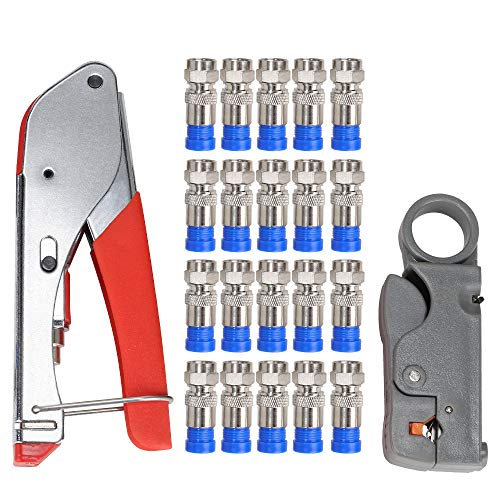 Coax Cable Crimper, Coaxial Compression Tool Kit Wire Stripper with F RG6 RG59 Connectors #TCYJGJ