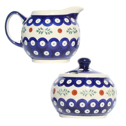 Polish Pottery Sugar Bowl and Creamer From Zaklady Ceramiczne Boleslawiec #694/711-242 Classic Pattern, Sugar Bowl: Height: 3.7'' Creamer: Height: 3.4''