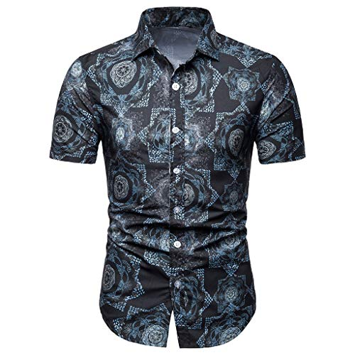 SFE Mens Fashion Shirts,Men Summer Bohe Floral Short Sleeve Basic T Shirt Blouse Top Plus Size Blue