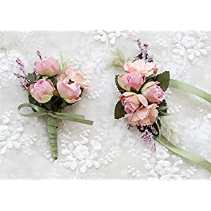 MOJUN Rose Corsage and Boutonniere Set Artificial Rose Wedding Corsage Flowers Prom Party Suit Decoration, Pink 10