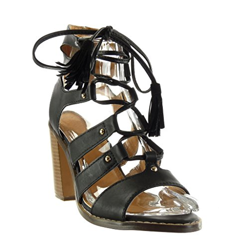 Angkorly Women's Fashion Shoes Sandals Ankle Boots - Booty - Gladiator - Sexy - Fringe - Pom Pom - Studded Block High Heel 9.5 cm Black BT8AXn