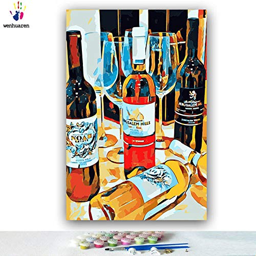 Paint by Number Kits Canvas DIY Oil Painting for Kids, Students, Adults Beginner with Brushes and Acrylic Pigment -Red Wine Bottle stemware Abstract (73004, 24x30 no ()