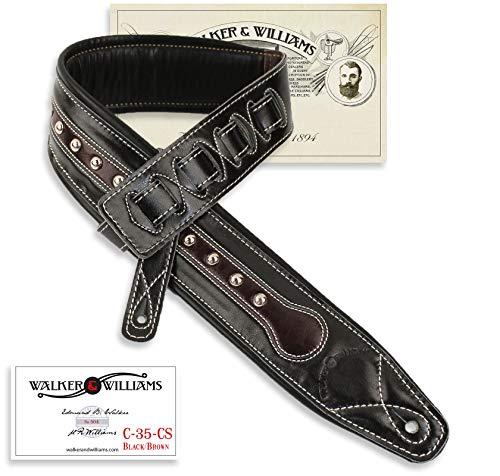 Walker & Williams C-35 CS Black and Brown Premium Top Grain Leather Padded Guitar Strap with Metal Studs