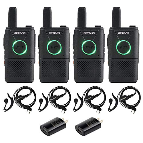 Retevis RT18 Walkie Talkies 4 Pack with Earpiece Headset 2 Pin VOX Scan Cruise Ship Restaurant Two- Way Radio Rechargeable FRS UHF for Kid Adults
