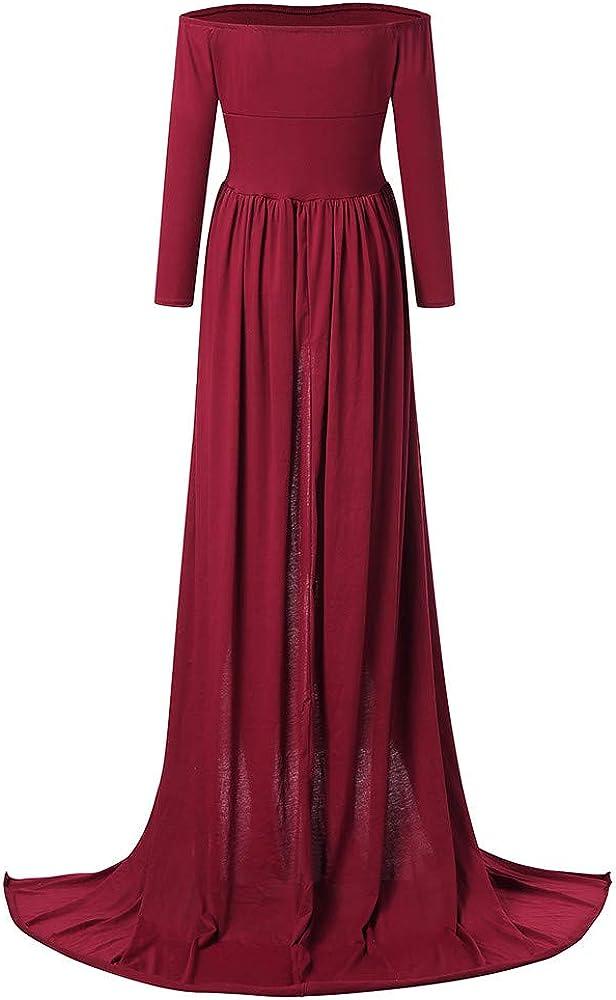 ZEZKT Elegant Damen Schwanger Lange Kleider Einfarbig Kleider Fotografie Hochzeit Festlich Fotoshooting Langarm Jerseykleid Cocktailkleid Lockeres