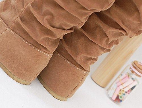 Minetom Mujer Otoño Invierno Elegante Casual Zapatos Planos Rodilla Botas Slouchy Botas De Nieve Dulce Botas Largas Amarillo