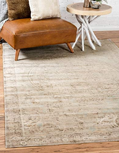 Unique Loom Paris Collection Pastel Tones Traditional Distressed Beige Area Rug 5 0 x 8 0