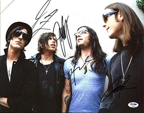 Kings Of Leon (Caleb, Nathan, Jared, Matthew) Signed 11X14 Photo #AB03337 - PSA/DNA Certified