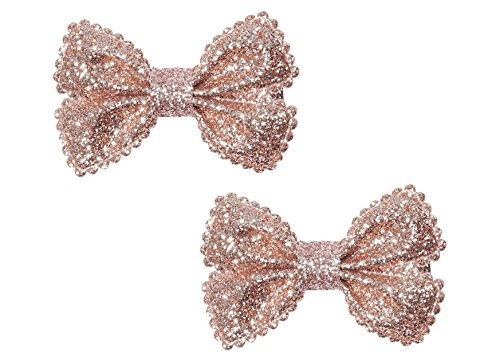 "Price comparison product image Anna Belen ""Ariana"" Glitter Bow Hair Clip O/S Champagne (2 Pieces)"