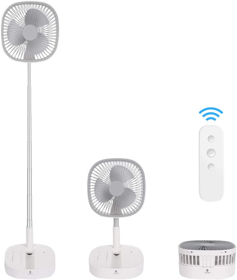Portable Pedestal Fan - Outdoor Standing Fans Flodable Telescopic Desk Fan,Remote Control Wireless Use Built In Usb Rechargeable Battery 4 Speed,Quiet Timer Adjustable Height For Courtyard Home Camping Office