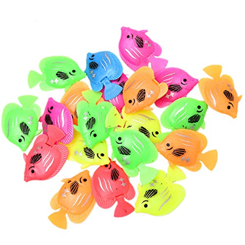 (Monrocco 20pcs Plastic Artificial Fishes Mix Color Floating Fish Ornament Decorations for Aquarium Fish Tank)