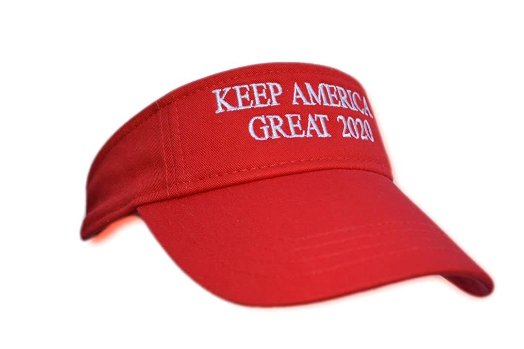 CJs Trading 2020 Donald Trump Keep America Great USA Flags MAGA Re-Election Red Visor