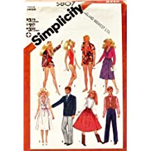 "Simplicity 5807 Sewing Pattern, Wardrobe for 11 1/2"" Fashion Doll, Such As Barbie and Ken, 1980s Fashion"