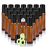 Olilia 10ml Amber Glass Roll on Bottles with Metal Roller Balls,24 Pack, Essential Oils Opener