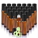 Olilia 10ml Amber Glass Roll on Bottles Metal Roller Balls,24 Pack, Essential Oils Opener