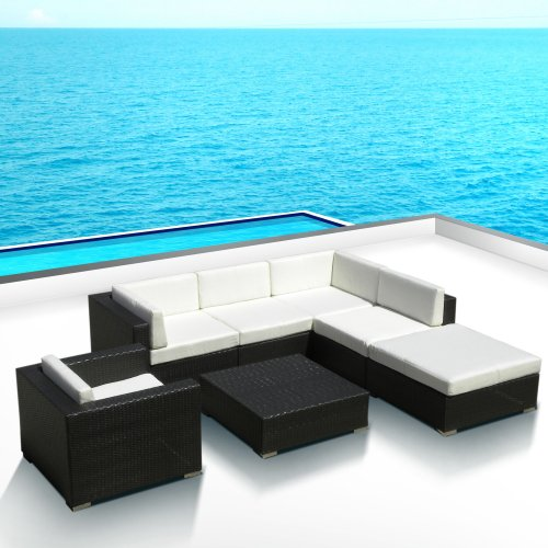 Outdoor Patio PE Resin Wicker Furniture All Weather 7pc L Shape Vila Deep Seating New Sectional Sofa Set