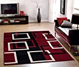 Red Rug Sweet Home Stores Clifton Collection Modern Boxes Design Area Rug (5' W x 7' L), Dark Red