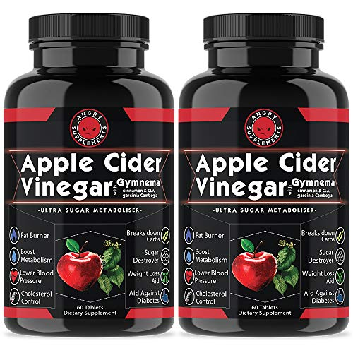 Angry Supplements Apple Cider Vinegar Pills for Weightloss [2 Pk Bundle] Natural Detox Remedy Includes Gymnema, Cinnamon, CLAS, Garcinia for Complete Diet and Health - Best Starter Kit or Gift.