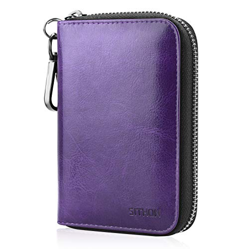 SITHON Vape Carrying Case for JUUL - PU Leather Traveling Cover Storage Bag E-CIG Pouch Holster with Pods Holder & Carabiner Keychain Compatiable with Pax Era/myblu, Purple
