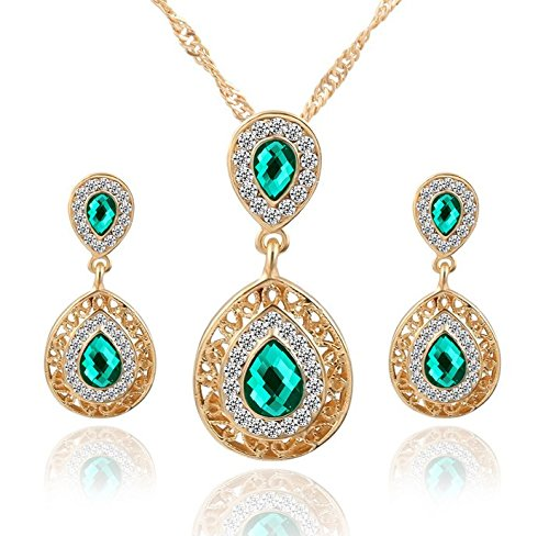 Gold Earrings Plated Lucky (Gold Plated Lucky Angel Beautiful Crystal Pendant Necklace and earring)