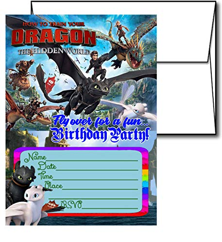 12 How to Train Your Dragon Birthday Invitation Cards (12 White Envelops Included)]()