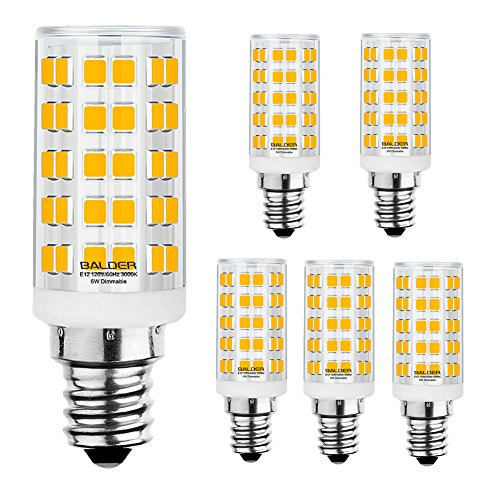 BALDER E12 6W Dimmable LED Bulb Candelabra Base (60W Halogen Equivalent) Warm White 3000K, Celling Fan Bulb, 6 Pack
